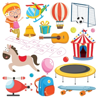 Coleção de brinquedos e objetos coloridos
