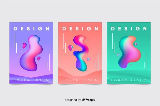 Coleção de brochura de formas líquidas flutuantes
