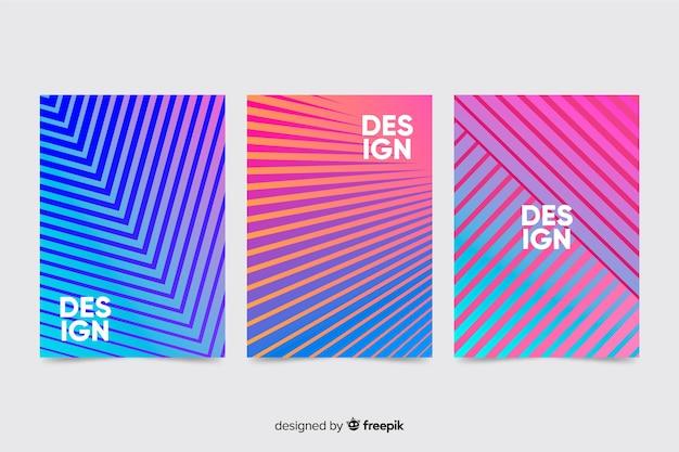 Coleção de brochura de linhas geométricas coloridas
