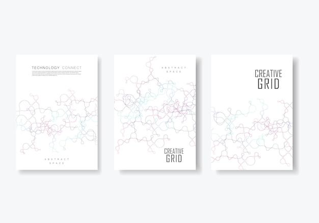 Coleção de brochura geométrica abstrata com linhas conectadas e pontos
