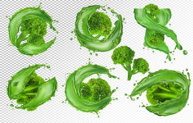 Coleção de brócolis frescos, vegetais. repolho de brócolis com respingo de líquido, produto natural