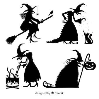 Coleção de bruxa de halloween de silhueta