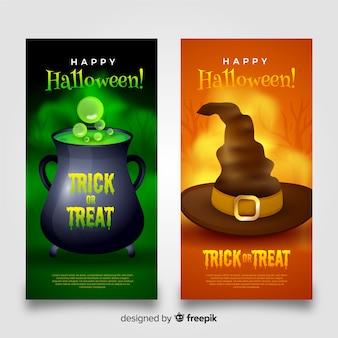 Coleção de bruxaria de banners de halloween