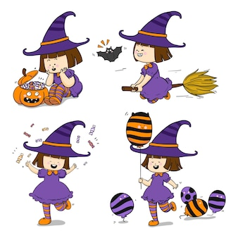 Coleção de bruxas de halloween desenhada à mão