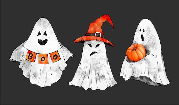 Coleção de bruxas de halloween em aquarela