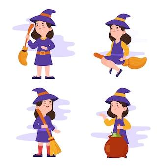Coleção de bruxas planas desenhada à mão