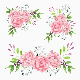 Coleção de buquê de flores de peônia rosa aquarela linda