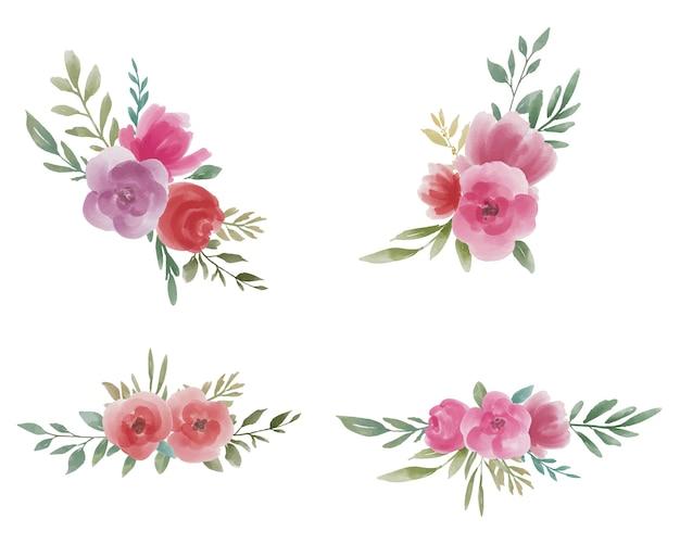 Coleção de buquê de flores em aquarela