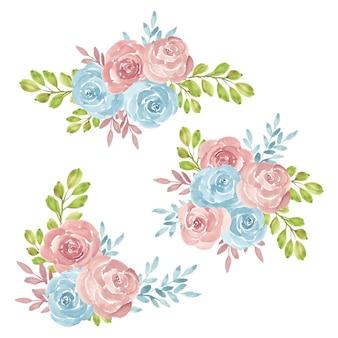 Coleção de buquê de flores rosas pintadas à mão em aquarela