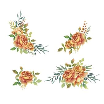 Coleção de buquê de rosas em aquarela