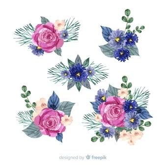 Coleção de buquê floral aquarela colorida