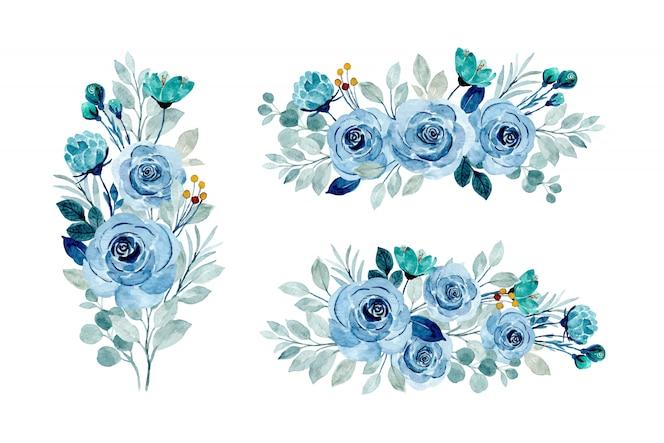 Coleção de buquê floral azul com aquarela
