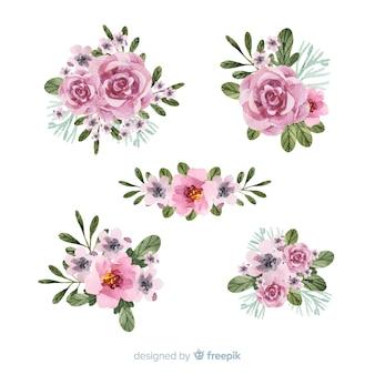 Coleção de buquê floral em aquarela