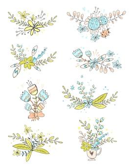 Coleção de buquês de flores doodle.
