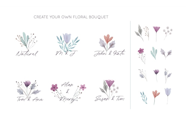 Coleção de buquês de flores elegantes