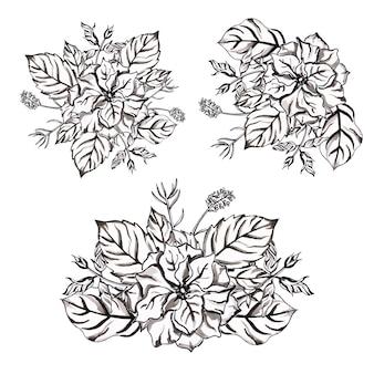 Coleção de buquês de flores em aquarela de preto e branco