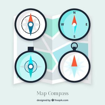 Coleção de bússola de mapa plano