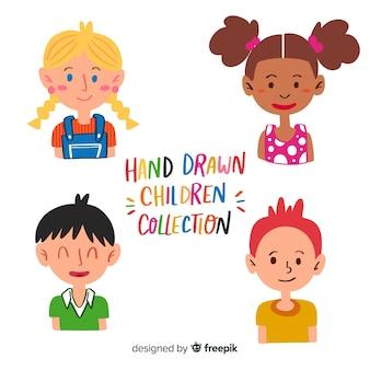 Coleção de busto de dia das crianças mão desenhada