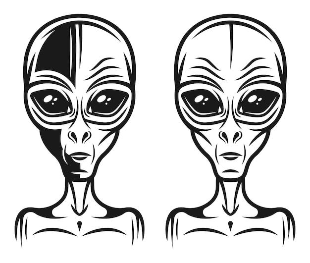 Coleção de cabeça alienígena isolada no branco