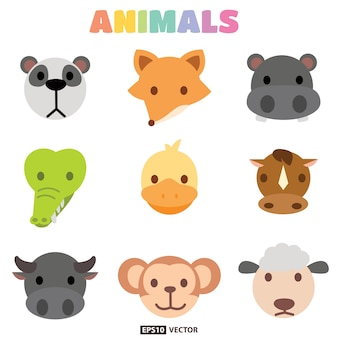 Coleção de cabeça de animais Vetor Premium