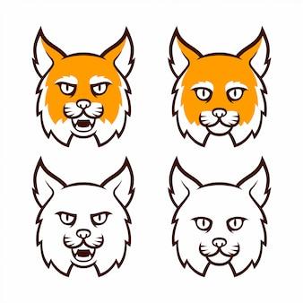 Coleção de cabeça de mascote de gato selvagem