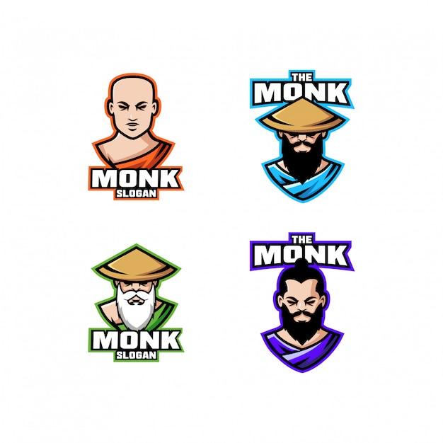 Coleção de cabeça de monge personagem logotipo ícone design dos desenhos animados