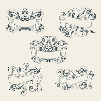 Coleção de cabeçalhos ornamentais monocromáticos desenhada à mão