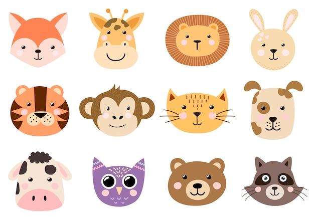 Coleção de cabeças de animais bebê fofo.