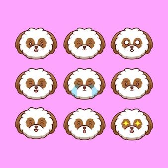 Coleção de cabeças de cachorro shih-tzu fofa com ilustração de ícone de desenho animado de diferentes expressões