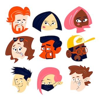 Coleção de cabeças de personagens de desenhos animados