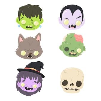Coleção de cabeças de personagens de halloween