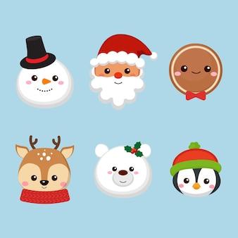 Coleção de cabeças de personagens fofinhos de natal