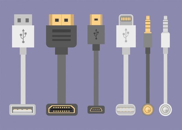 Coleção de cabos, hdmi, usb, raios, jack áudio frontal e vista superior na ilustração plana