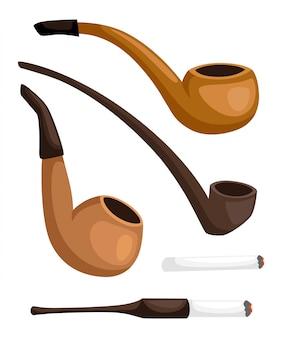 Coleção de cachimbos. cachimbos retrô com piteira. ilustração em fundo branco. página do site e aplicativo para celular