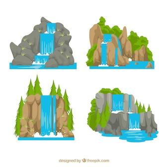 Coleção de cachoeiras em estilo cartoon