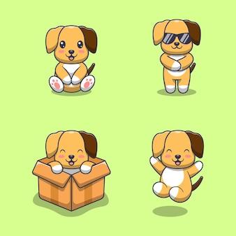 Coleção de cachorro fofo. estilo de desenho plano