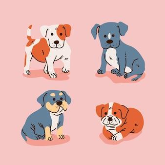Coleção de cachorros pitbull de desenho animado
