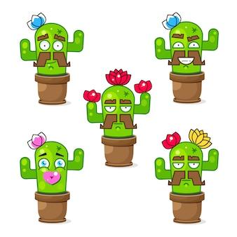 Coleção de cacto mexicano engraçado