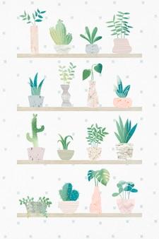Coleção de cactos botânicos verdes