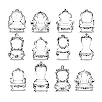 Coleção de cadeiras ornamentais