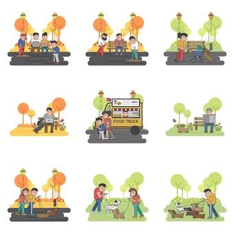 Coleção de cães e atividades ao ar livre