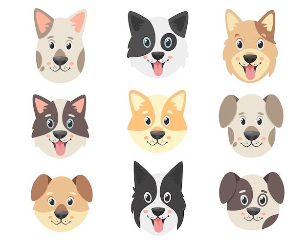 Coleção de cães fofos. rostos de cães.