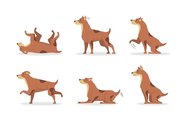Coleção de cães isolada em branco