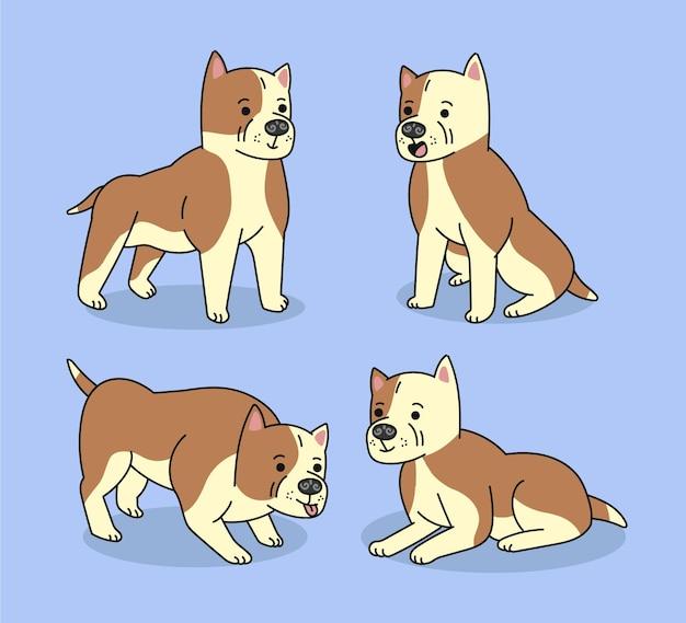 Coleção de cães pitbull planos orgânicos