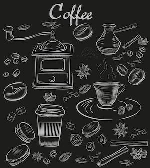 Coleção de café de giz desenhados à mão
