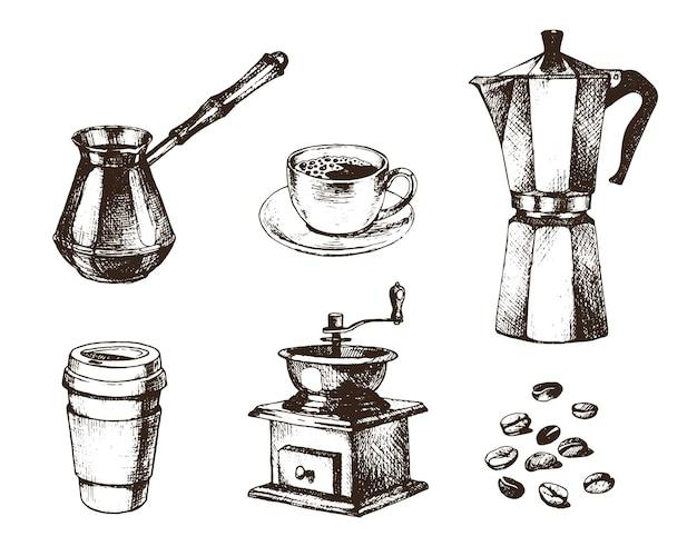 Coleção de café em estilo desenhado à mão de tinta