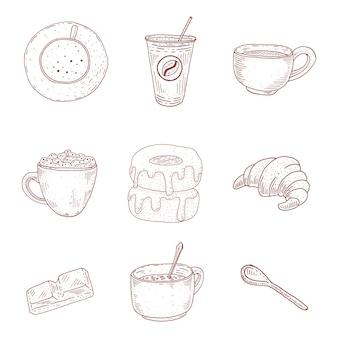 Coleção de café vintage. ilustração de comida no estilo de desenho. sobremesas e bebidas