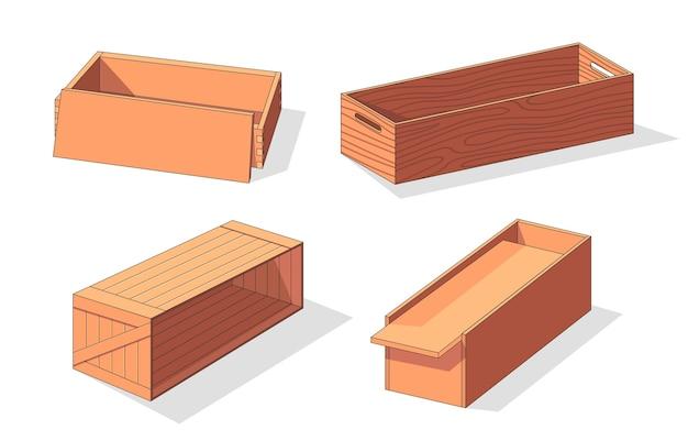 Coleção de caixa de madeira isométrica