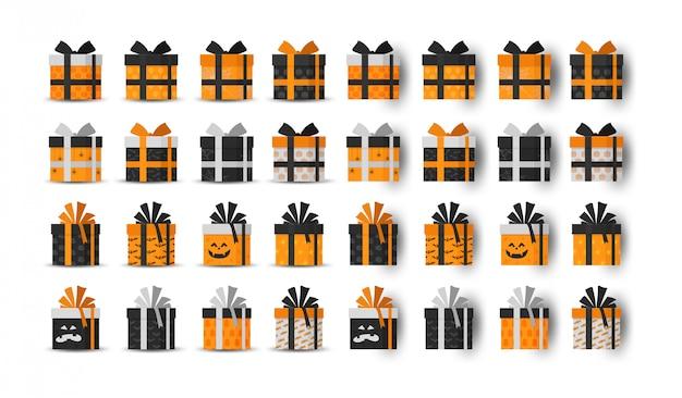 Coleção de caixa de presente de halloween