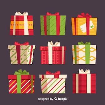 Coleção de caixa de presente de natal com padrão geométrico